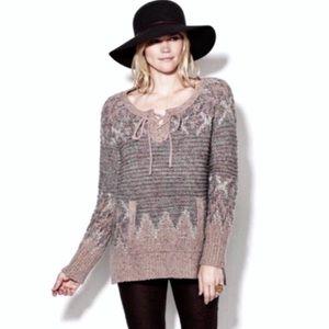 Free People Love Bug Lace Up Fair Isle Sweater